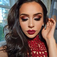 Red makeup and lips More