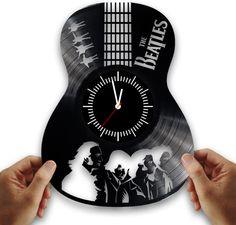 Beatles from vintage vinyl records. Handmade clock beatles from vinyl records. #Handmade