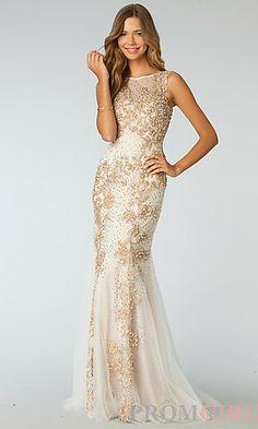 Beaded Floor Length Sleeveless Dress at PromGirl.com