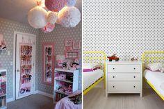 Decoração: quartos infantis com parede de poás