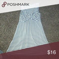 Gray Striped Dress Good condition. Very comfortable. Size M. Boston Proper Dresses Midi