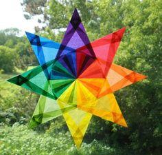 Rainbow waldorf star.  Beautiful.