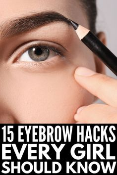 Brows on Fleek: 14 Eyebrow Hacks Every Girl Should Know Want gorgeous, thick, and natural eyebrows your friends will envy? We're sharing 14 eyebrow hacks every girl should know, and you don't want to miss out! Best Eyebrow Pencils, Eyebrow Makeup Tips, Body Makeup, Eyeliner Hacks, Makeup For Eyebrows, Eye Brow Pencil, Eyebrow Trends, Eyebrow Tinting, Eye Brows