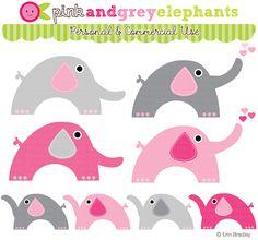 Erin Bradley Designs: NEW! Pink, Blue & Gray Elephants & Matching Digital Papers