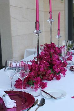 Mesa buganvilla| wedding party lunch table setting idea