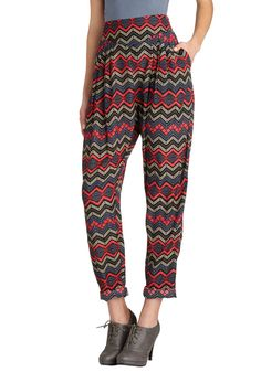 Blast from the Pastiche Pants. Only a gal with your elan can rock the colorful compilation of these high-profile pleated pants! #multi #modcloth