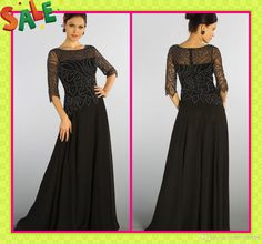 Wholesale Mother Of The Bride Dress - Buy 2014 Hot Sale Black Sexy Sheer Straps With 3/4 Sleeves Beading Jacket Floor Length Mother Of The B...