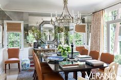 I just really love the stitcing on these chairs! Who does this???? Hollywood Hills No. 2 | Mark D. Sikes: Interiors