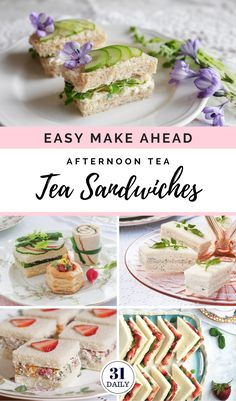 Easy Make Ahead Tea Sandwiches for Your Next Tea Party - 31 Daily - Easy Make Ahead Afternoon Tea Sandwiches plus pro tips, recipes, presentation ideas and more. High Tea Sandwiches, Tee Sandwiches, Party Finger Sandwiches, English Tea Sandwiches, Afternoon Tea Recipes, Afternoon Tea Parties, Vegan Afternoon Tea, English Afternoon Tea, Vegan Teas