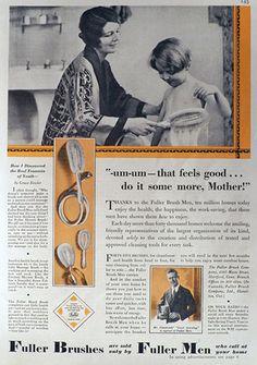 1930 Fuller Brush Ad ~ Mom Bathes Child