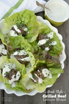 Change up your burger night with this recipe for Greek Style Grilled Beef Lettuce Wraps! Drizzled with a yogurt-garlic sauce it's a perfect, healthy family meal everyone will love! Quick Healthy Meals, Healthy Family Meals, Healthy Snacks, Healthy Eating, Healthy Recipes, Dinner Healthy, Grilling Recipes, Beef Recipes, Whole Food Recipes