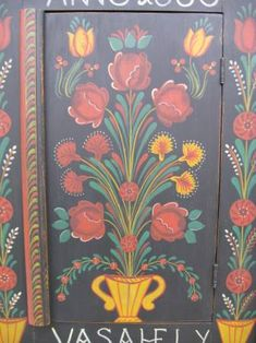 folk art painted furniture | Hungarian painted carved wall cupboard farm peasant folk art furniture