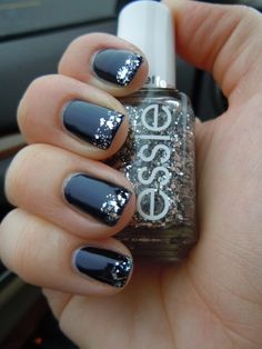 black-silver-glitter-tipped-nails