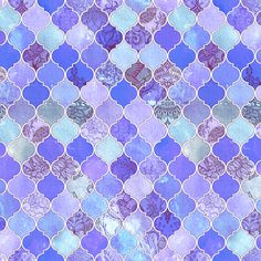 Purple and Lilac Decorative Moroccan Tiles Tiny Print fabric by micklyn on Spoonflower - custom fabric