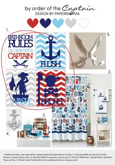 Pirate Bathroom Rules...by order of the by PaperRamma on Etsy, $54.00