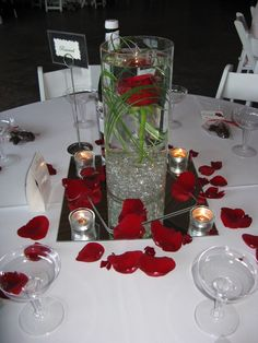 """red romance"" centerpiece - rose (www.gloryfloraldesigns.com)"