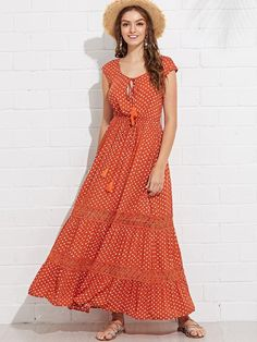 Shop orange lace applique dot swing dress at Fashiontage. Give your online shopping a new twist with stylish women's dresses/day dresses from Fashiontage. Swing Dress, Dress Skirt, Dress Outfits, Fashion Dresses, Classy Trends, Lace Applique, Stylish Outfits, Short Sleeve Dresses, Fashion Women
