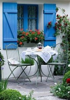 I don't have windows on our shed so I plan on putting a faux window by using an old window frame & shutters with a flower box underneath.i'm so excited! Outdoor Rooms, Outdoor Gardens, Outdoor Living, Outdoor Furniture Sets, Outdoor Decor, Farm Gardens, Gazebos, Blue Shutters, Faux Window