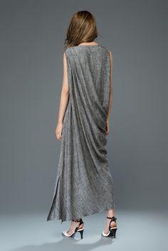 Linen Cocktail Dress Long Maxi Draped Sleeveless Women's