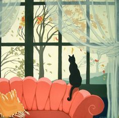 Cat looking out the window. Looks like the same artist that did the cover of…