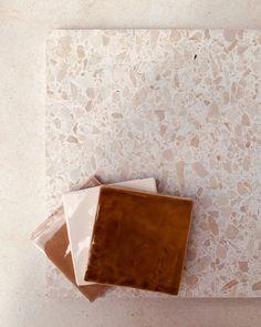 Material Color Palette, Earth Colour Palette, Wall Design, House Design, Riverside House, Terrazzo Flooring, Colorful Decor, Kitchen Interior, Interior Inspiration