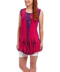 Look at this #zulilyfind! Life and Style Fashions Fuchsia Tie-Dye Scoop Neck Top by Life and Style Fashions #zulilyfinds