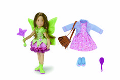 NEW! Kruselings Sofia Doll Deluxe Set. Sofia has brown hair and eyes. She wears her green magic dress, boots, wings and her magic flower. Her workaday outfit consists of a pink dress, a denim jacket, ballerina flats and a bag with fringes with her own hair brush. This 23 cm doll is made of high-quality vinyl, movable joints and lifelike glass eyes.