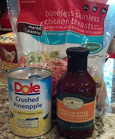 Hawaiin Chicken, Crock Pot Ingredients: 1 Can Crushed Pineapples 1 Cup BBQ Sauce (Doesn't have to be Hawaiin-Style, I've used Honey BBQ Sauce several times) 2-4 Boneless Chicken Breasts (Or however many you need for your family)  Directions: 1. Mix together BBQ Sauce and Pinapples together in bowl.  2. Place chicken in Crock Pot 3. Pour mixture over chicken 4. Cook on low for 6-7 hours.