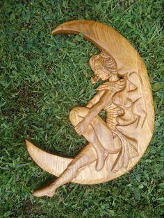 Paper Moon, Oak, Carving