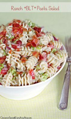 Ranch BLT Pasta Salad BLT Ranch Pasta Salad – everyone asks for the recipe! Summer Recipes, Great Recipes, Favorite Recipes, Pasta Dishes, Food Dishes, Side Dishes, Blt Pasta Salads, Bacon Ranch Pasta Salad, Blt Salad