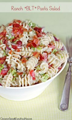 Ranch BLT Pasta Salad.  Absolutely scrumptious!  I used arugula; and I made the ranch dressing from a recipe on this site. I also added celery for crunch.