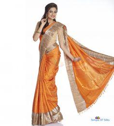 Orange thread jacquard kancheepuram saree with silver border