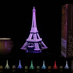 Creative Eiffel Tower Pattern LED Night Light 3D Acrylic USB Color Changing Decorative Lamp