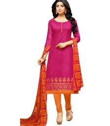62a1a40e1d4 Pink embroidered chanderi unstitched salwar kameez with dupatta