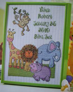 SAFARI BABY SAMPLER, Cross Stitch Pattern, CUTE JUNGLE ANIMAL BIRTH SAMPLER, New in Crafts   eBay