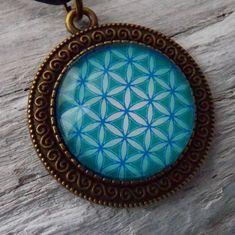 Mandala Blume des Lebens Medaillon 35 mm Aqua von KIMAMAdesign