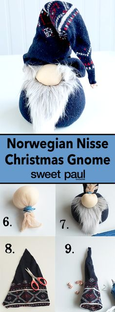 This project has three of my favorite components to it: 1. A Norwegian theme, 2. It's no-sew! Just use rubber bands and hot glue!, 3. It's an upcycling project, the main material comes from an old sweater!