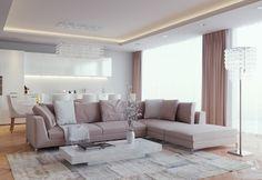 ideen wohnzimmer einrichten wohnküche neutrale farben indirekte beleuchtung