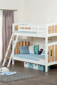 Inspired by one of the world's most important fashion capitals, we designed the Milano collection with contemporary style in mind. Crafted from solid King Single Bunk Beds, Kids Bedroom, Bedroom Ideas, White Bunk Beds, Asymmetrical Design, Contemporary Style, Curves, Boards, Range