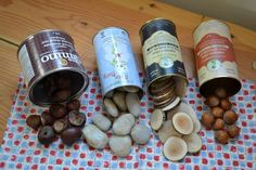 "various nuts, branches and stones to make the ""food"" for the kitchen- great idea when a child is old enough not to eat them"