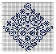 Free easy and quick folk style cross stitch pattern. 88 x 84 stitches. Try it on 32 count evenweave where it'll be 14 x 13.5 cm Use your favourite colour, DMC 797 used here.