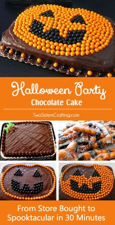 Halloween Party Chocolate Cake - from Store Bought to Spooktacular in less than 30 minutes. We have all the directions you'll need to create an amazing Halloween Cake with Sixlets and store-bought cake. Your Halloween Party guests will be amazed at your cake decorating skills and nobody needs to know how easy it was to create this fun Halloween Treat. Follow us for more fun Halloween Food Ideas.