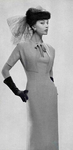 1956 Marie-Hélène in slim, elegant jersey cocktail dress by Lanvin-Castillo
