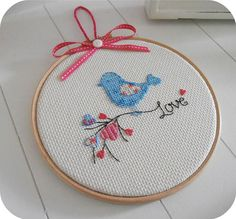 Items similar to Lovable cross stitched blue bird framed in 7 inch hoop. Ideal for Valentine's gift, anniversary and romantic home decor on Etsy - Valentinstag Cross Stitch Love, Cross Stitch Designs, Cross Stitch Patterns, Cross Stitching, Cross Stitch Embroidery, Stitch Crochet, Christmas Cross, Etsy, Valentine Gifts
