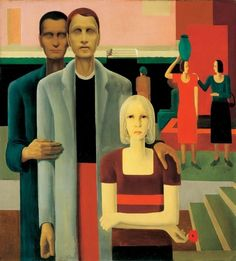 Buy Art Reproductions Blinds at the Red Well 1932 George Tooker, Tamara Lempicka, Art Station, Red Walls, New Artists, Contemporary Paintings, Beautiful Paintings, Figurative Art, Traditional Art
