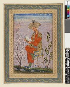 Drawing on paper; portrait of Bábur seated on chair reading a book, with marginal inscription 'Shah Babur'.