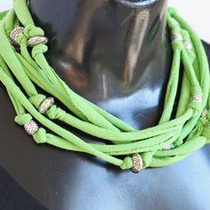 Beaded tshirt yarn necklace. $15.00, via Etsy.