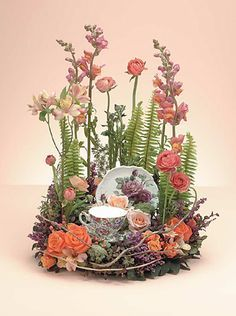 unusual floral arrangements for funerals | Mom's Tea Cup and Saucer Arrangement | Funeral Flowers by Lorraine ...