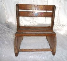 Child Size Wood Folding Chair / Step Stool- Wood Slat Construction- Charming…