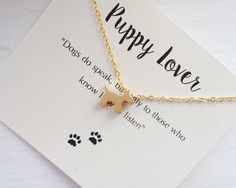 A personal favorite from my Etsy shop https://www.etsy.com/ca/listing/270371644/gold-puppy-lover-necklace-dog-lover